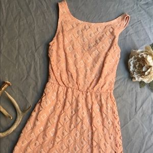 Low Back Peach Colored Lace Dress